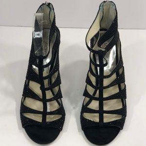 Michael Kors 8.5M Black Beaded Glittery Peep Toes